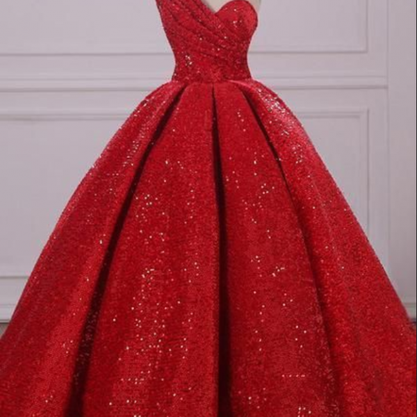 Ball Gown One Shoulder Sequins Red Sweetheart Prom Dresses,Quinceanera Dresses