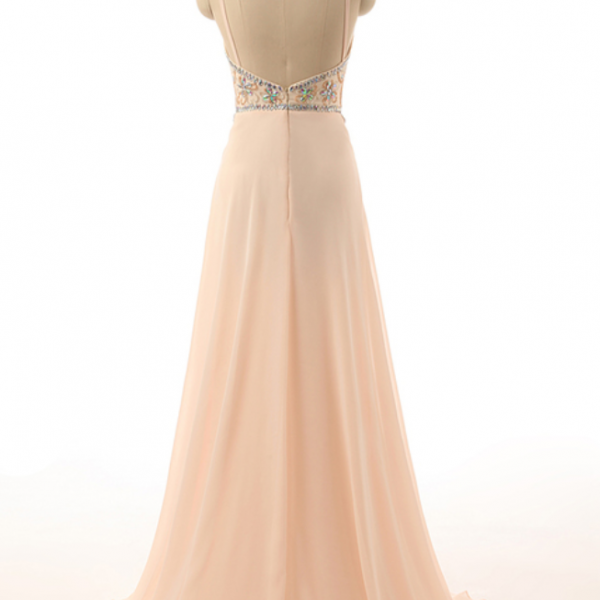 Custom Made Beige Halter Neckline Beaded Crystal Adorned Long Chiffon Evening Dress, Prom Dresses, Wedding Dresses