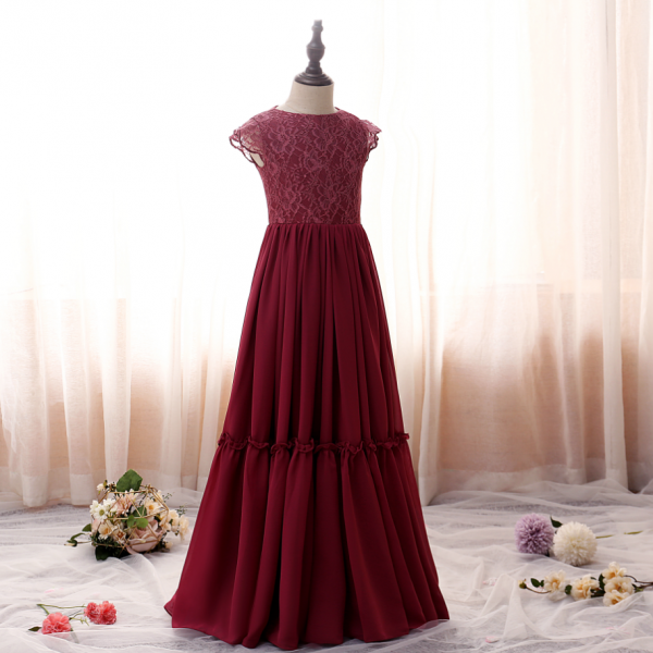 Flower girl dresses, Weddings Children Princess Ball Gowns Petal Sleeve Wine Red High-End Party Ceremony Dress Birthday Banquet Girls Clothes