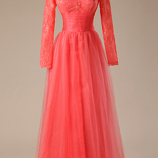 A - ligne rose party dress length long sleeve layer Appliques lace evening dresses