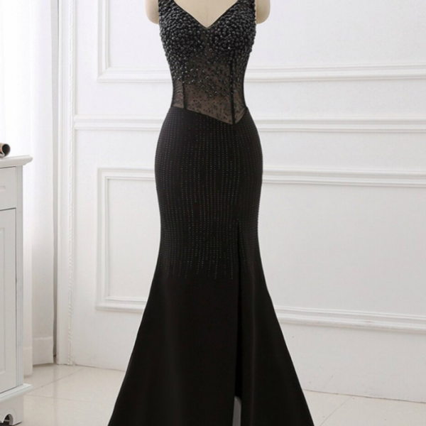 Black V-Neck Beaded Prom Dresses Sleeveless Split
