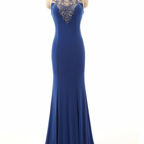 Royal Blue Beading Sheer Neck Mermaid Illusion Dress