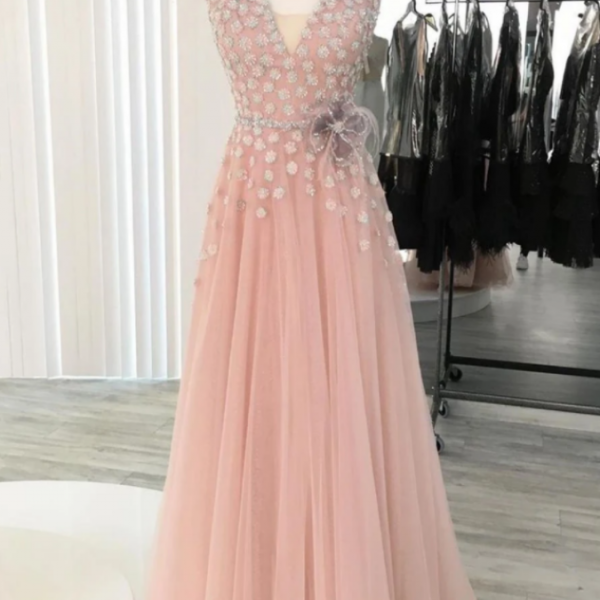 A-line V neck Long Prom Dresses Tulle Evening Dress