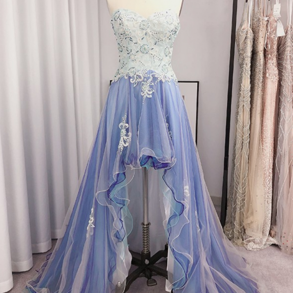 A-Line/Princess Tulle Applique Sweetheart Sleeveless Asymmetrical Dresses