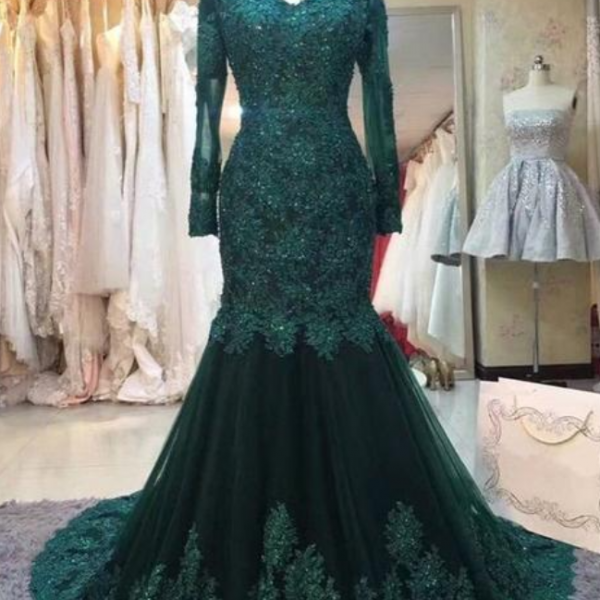 lace mermaid prom dresses long sleeves evening gown