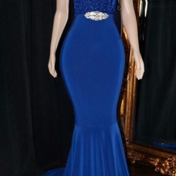 V-Neck Sequins Prom Dresses | Elegant Crystal Backless Evening Dress
